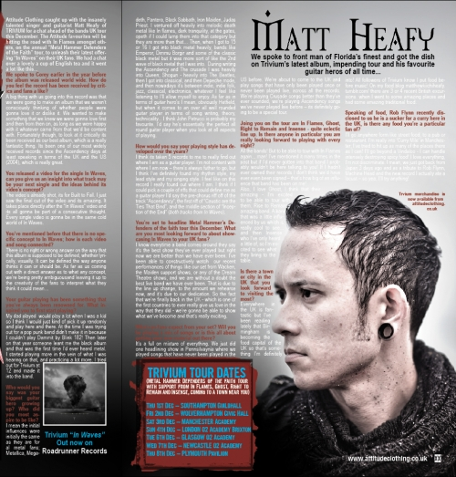 Attitude Clothing UK entrevista a Matt Heafy