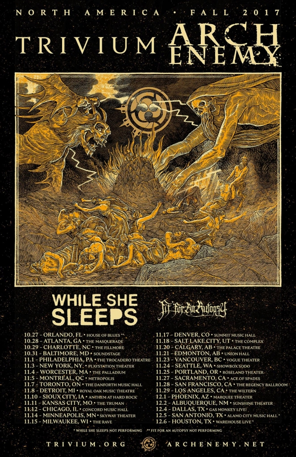 Tour Norteamericano de Trivium, Arch Enemy, While She Sleeps & Fit For An Autopsy