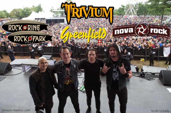 Trivium en los festivales Rock am Ring, Rock im Park, Greenfield & Nova Rock 2016